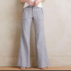 Anthropologie linen blend gray pants 6. Pricefirm